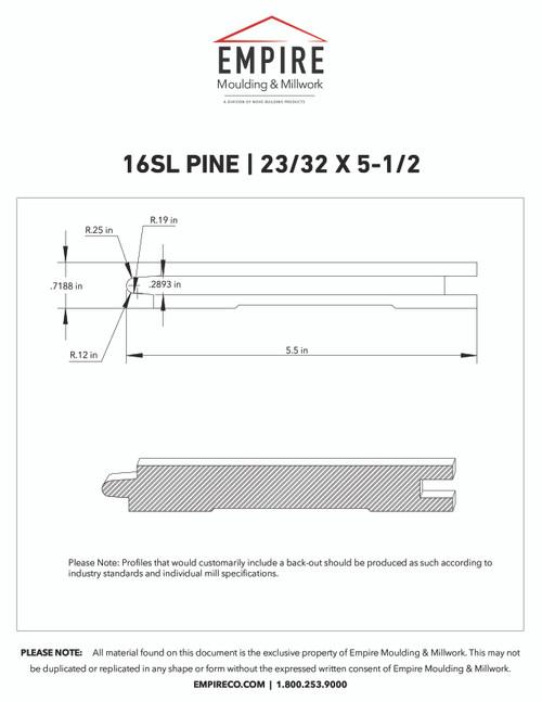 """16SL Primed FJ Pine Shiplap - 23/32"""" x 5-1/2"""""""