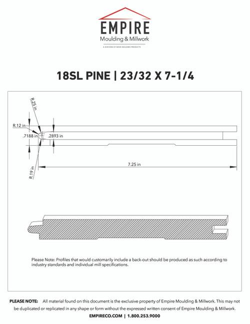 """18SL Primed FJ Pine Shiplap - 23/32"""" x 7-1/4"""""""