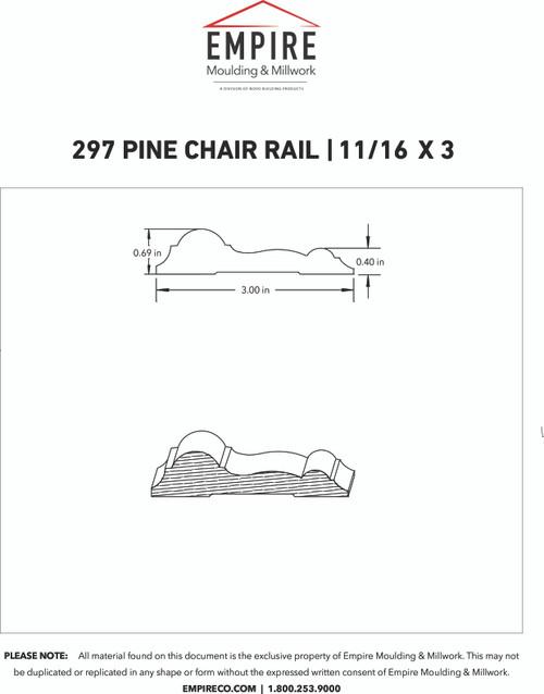 """297 Pine Chair Rail - 11/16"""" x 3"""""""