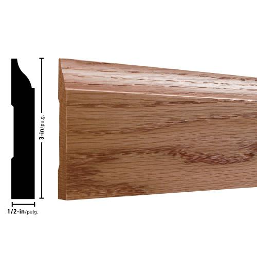 """634 Oak Baseboard - 1/2"""" x 3"""""""