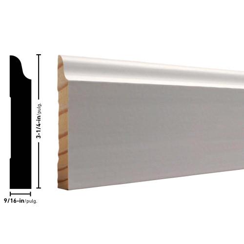 "663 Clay Coat Primed FJ Pine Baseboard - 9/16"" x 3-1/4"""