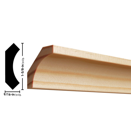 "86 Pine Cove Moulding 9/16"" x 1-5/8"""