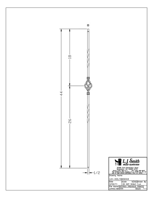 "1/2"" Double Twist Single Basket - Iron Baluster"