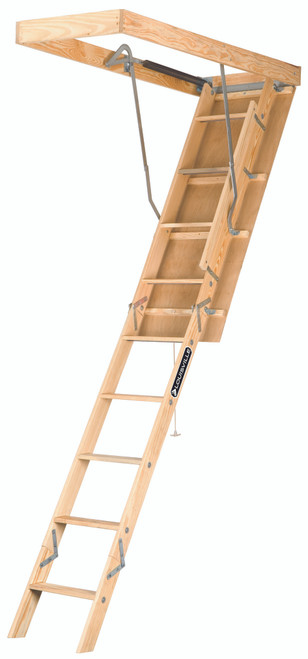 """224P - Premium Wood Fire Treated Attic Ladder - 22-1/2"""" x 54"""" x 10'"""