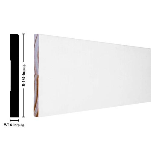 "L514 E1E Primed FJ Pine Baseboard - 9/16"" x 5-1/4"""