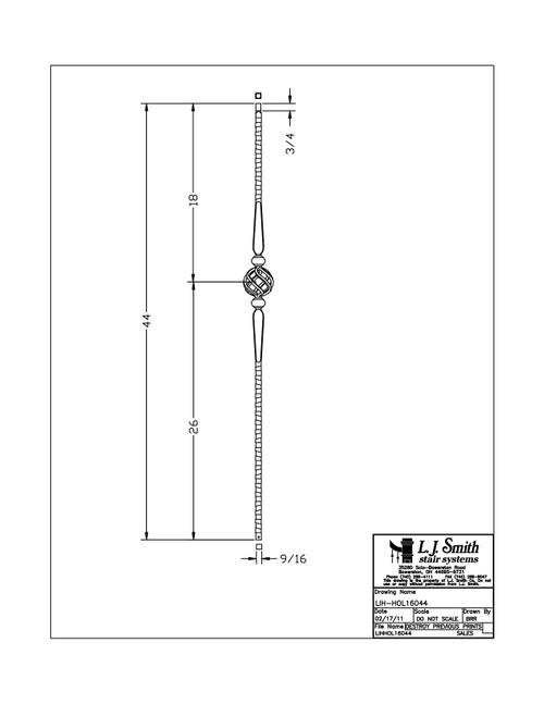 """9/16"""" Gothic Single Basket - Iron Baluster"""
