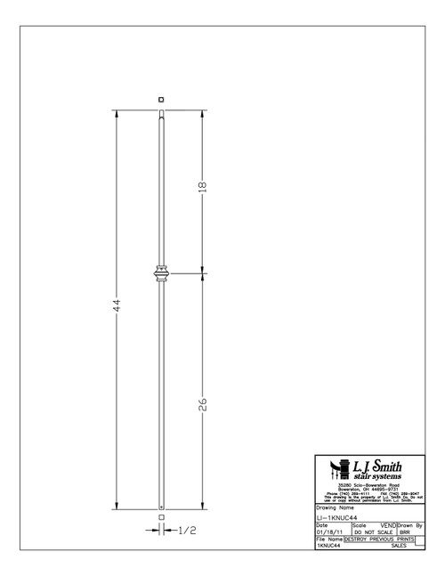 "1/2"" Versatile Single Knuckle - Iron Baluster"