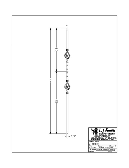 "1/2"" Double Basket and Twist - Iron Baluster"