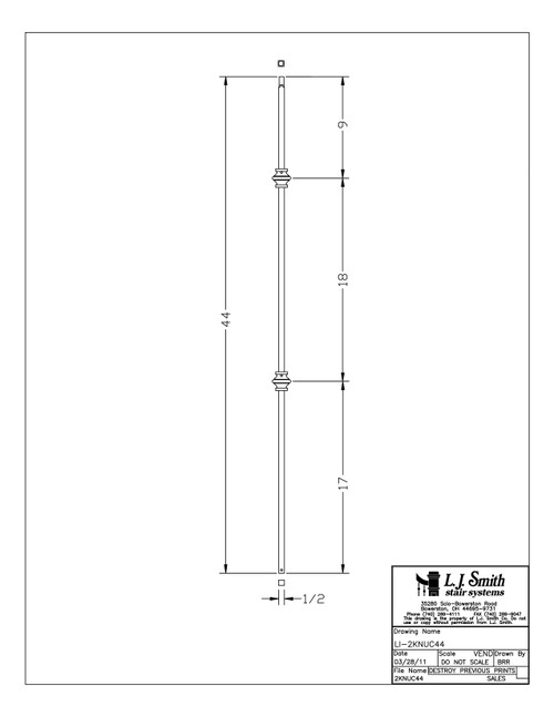 "1/2"" Double Knuckle - Iron Baluster"