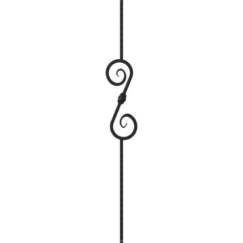 "1/2"" Mediterranean Scroll Ball - Iron Baluster"