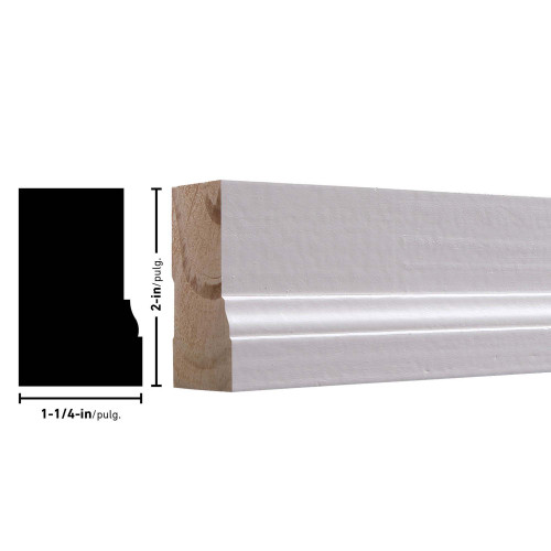 "N180 Primed FJ Pine Brick Mould (No Label) - 1-1/4"" x 2"""