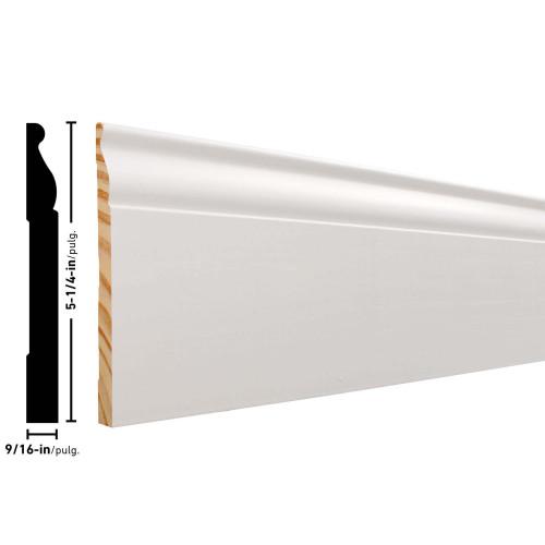 """P813 Primed FJ Pine Baseboard - 9/16"""" x 5-1/4"""""""