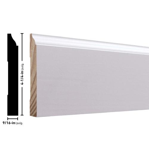 """620 Primed FJ Pine Baseboard - 9/16"""" x 4-1/4"""""""