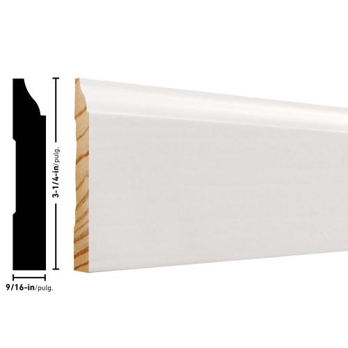 """623 Primed FJ Pine Baseboard - 9/16"""" x 3-1/4"""""""