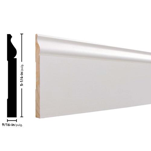 "L163E Primed FJ Pine Baseboard - 9/16"" x 5-1/4"""