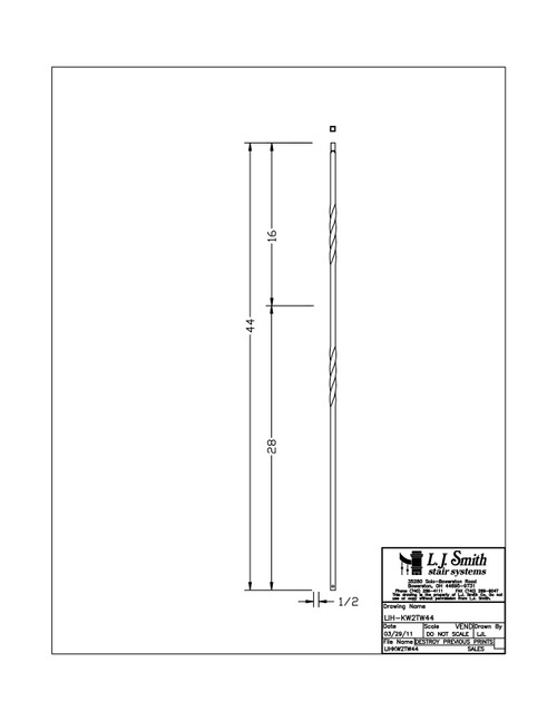 "1/2"" x 44""  Kneewall Double Twist - Iron Baluster"