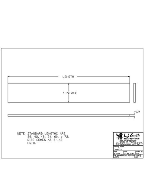 "8075 - 3/4"" x 8"" - Poplar Riser"