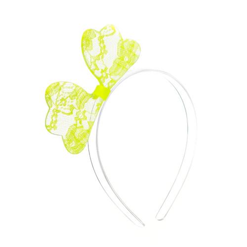 Neon Yellow Lace Bow Headband