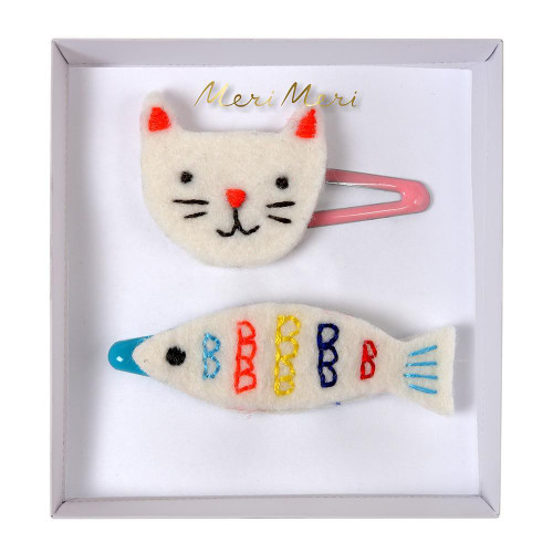 Embroidered Cat & Fish Hairclips