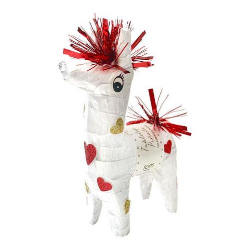 Mini Tabletop Love Llama Piñata, white and red