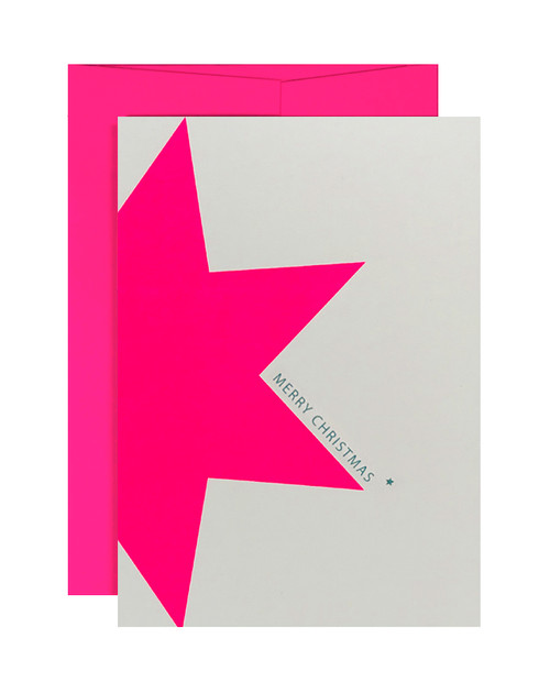 Merry Christmas Neon Pink Star Card