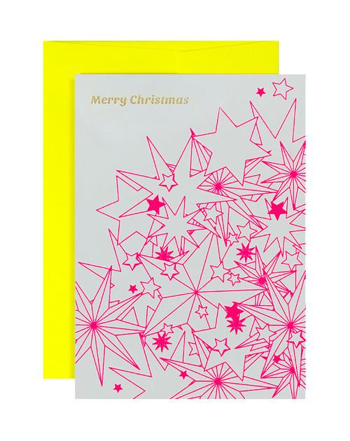 Merry Christmas Multi Stars Neon Pink & Yellow Card