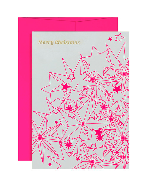 Merry Christmas Multi Stars Neon Pink & Pink Card