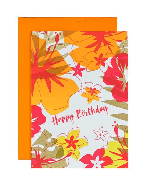 Happy Birthday Tropical Neon Orange
