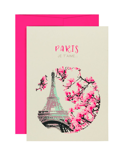 Paris Je Teime Neon Pink Card