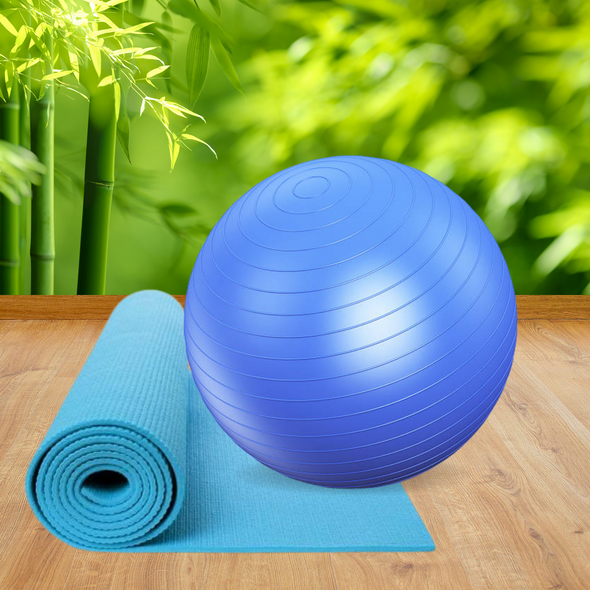 Assorted Fitness Yoga Mat & Exercise Ball - Combo