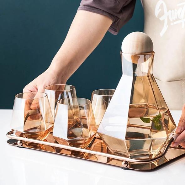 Luxury Diamond Glass Set with Wood Ball Lid
