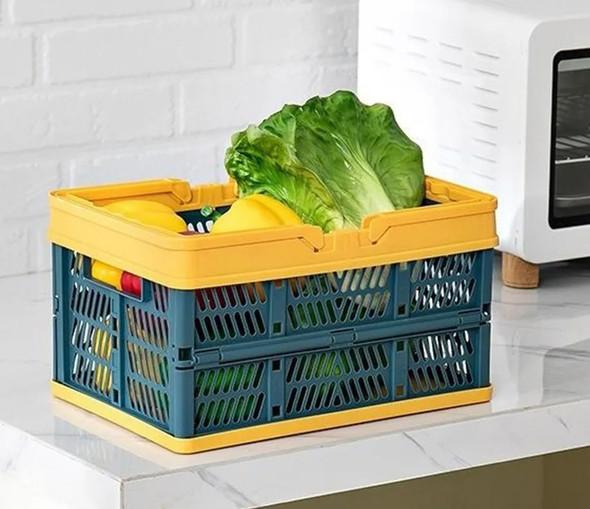 Folding Plastic Basket With Handle
