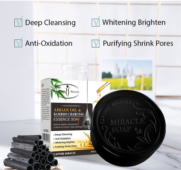 Argan Oil & Bamboo Charcoal Essence Soap - 4 Soaps