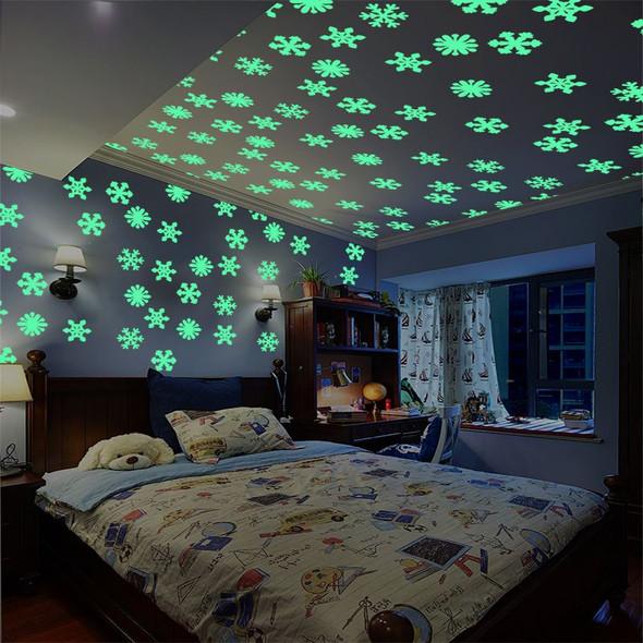 50pcs 3D Luminous Snowflake Self-Adhesive Wall Stickers