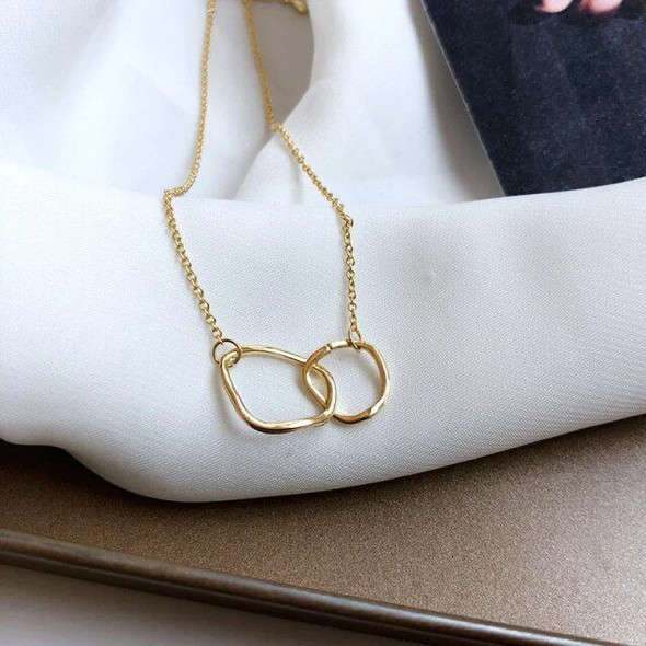 Double Circle Buckle Gold Irregular Necklace