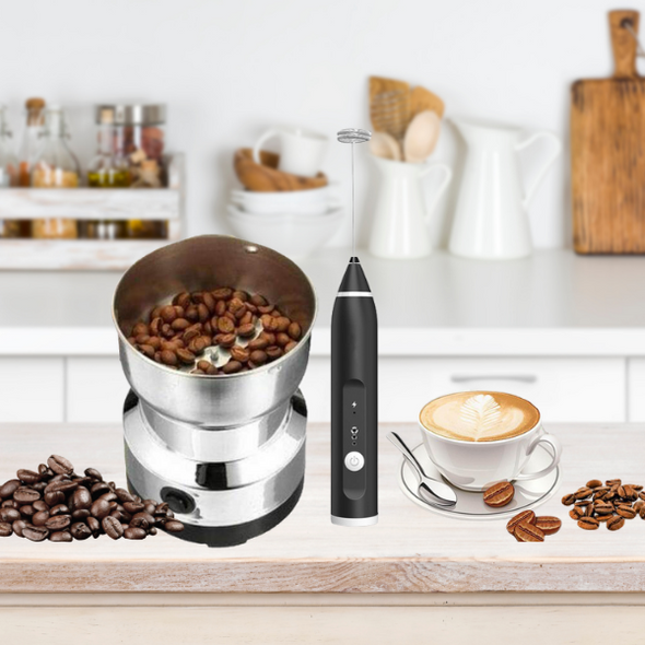Electric Coffee Grinder & USB Rechargeable Milk Frother Combo