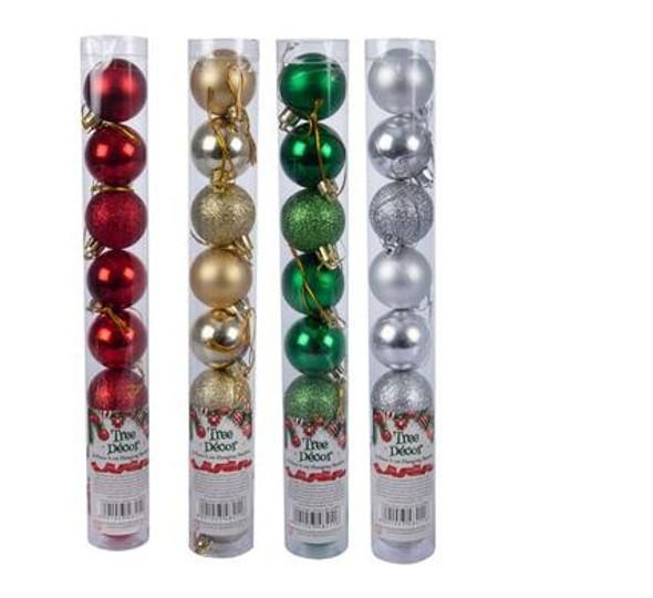 Xmas Décor Balls Tube 10pc 4cm