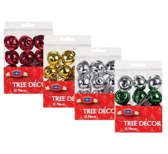 Xmas Tree Decor Bell 12pc 3cm