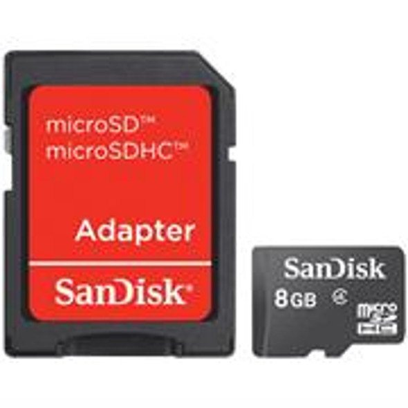 Sandisk 8GB Class 4 MicroSD Card (SDSDQM-008GB35A)- With SD Adapter, Retail Box , 1 year warranty