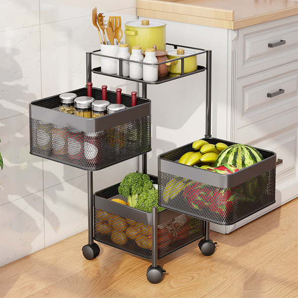 Multi-Layer Storage Trolley With Rotating Baskets