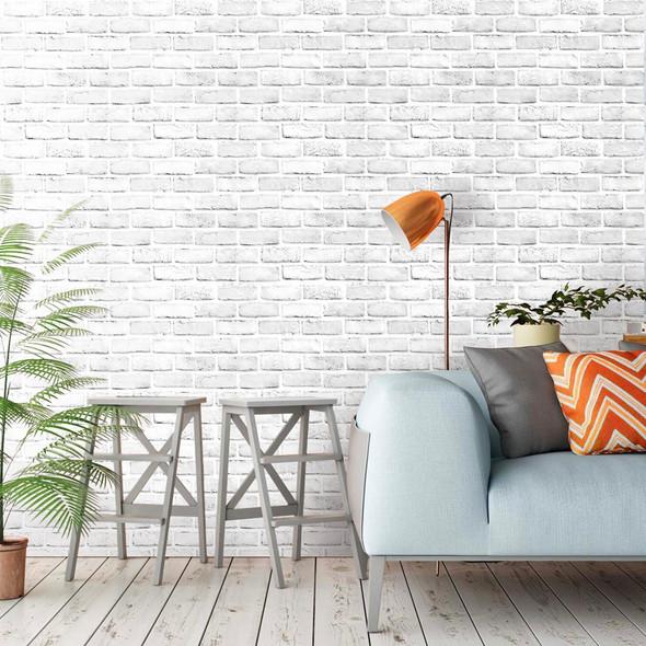 3D White Brick Self Adhesive Wall Sticker