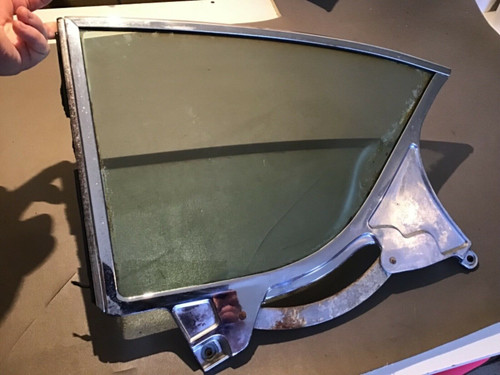 1957 1958 Cadillac 2 Door DS LH Glass Window 1/4 Glass Chrome Trim Frame E-Z Eye quarter