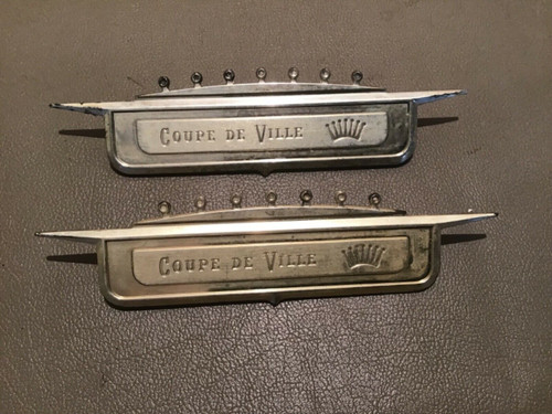 1958 Cadillac Fender Crest Coupe De Ville Emblem Badge Used Original Trim Gold