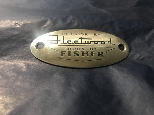 """1958 Cadillac Front Seat Tag """" Body by Fleetwood """" Emblem Side used original"""