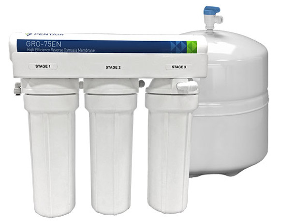 4 Stage RO System with 75 GPD High Efficient GRO  Membrane, 4 Gallons Tank, Faucet & Accessories 3/8""