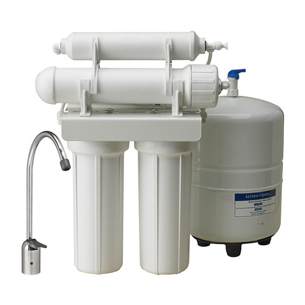 """CWW Series 4 Stage RO Systems with 50 GPD TFC Membrane, 4 Gallon Tank, Faucet & Accessories 3/8"""""""