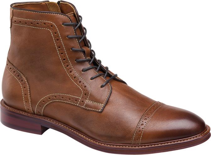 Johnston Murphy Men's Warner Cap Toe Zip Boot  20-3876 Dark Tan - Main Image