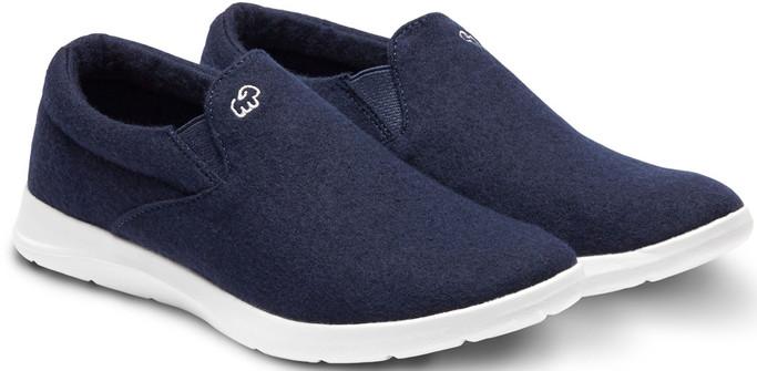 Merino Men's Wool Slip On Shoes - Navy