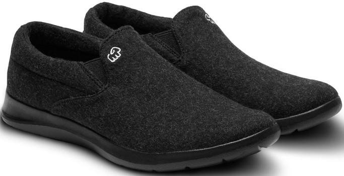 Merino Men's Wool Slip On Shoes - Black-Black Sole