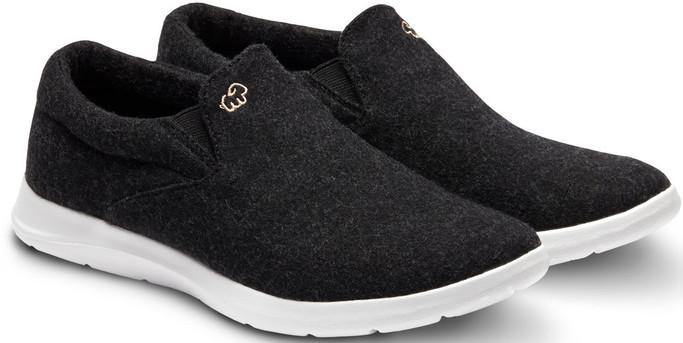 Merino Men's Wool Slip On Shoes - Black-White Sole